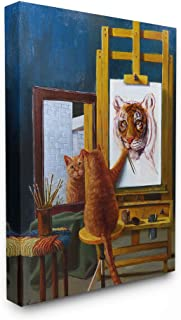 The Stupell Home Décor Collection Cat Confidence Self Portrait as a Tiger Funny Painting Stretched Canvas Wall Art, 16 x 20, Multi-Color