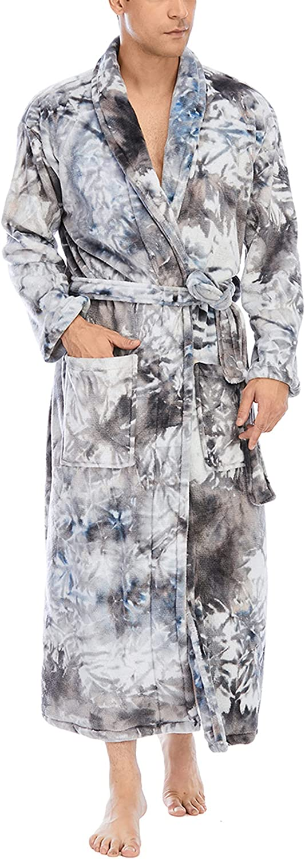 Men's LAPE Bathrobe Nightgown Homewear Coral Fleece Sleepwear Soft Comfy Pajamas Pjs with Belt Pockets Full Length