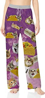 Womens Pajama Bottoms Comfy Palazzo Lounge Pants 90S Loose Spleepwear with Elastic Drawstring