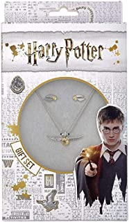 Harry Potter Silver Plated Golden Snitch Necklace And Earring Set