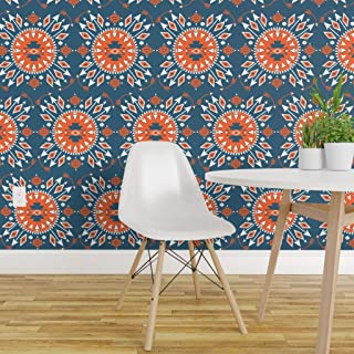 Spoonflower Peel and Stick Removable Wallpaper, Arrow Navajo Tribal Teal White Orange Fable Blue Santa Native Print, Self-Adhesive Wallpaper 24in x 108in Roll