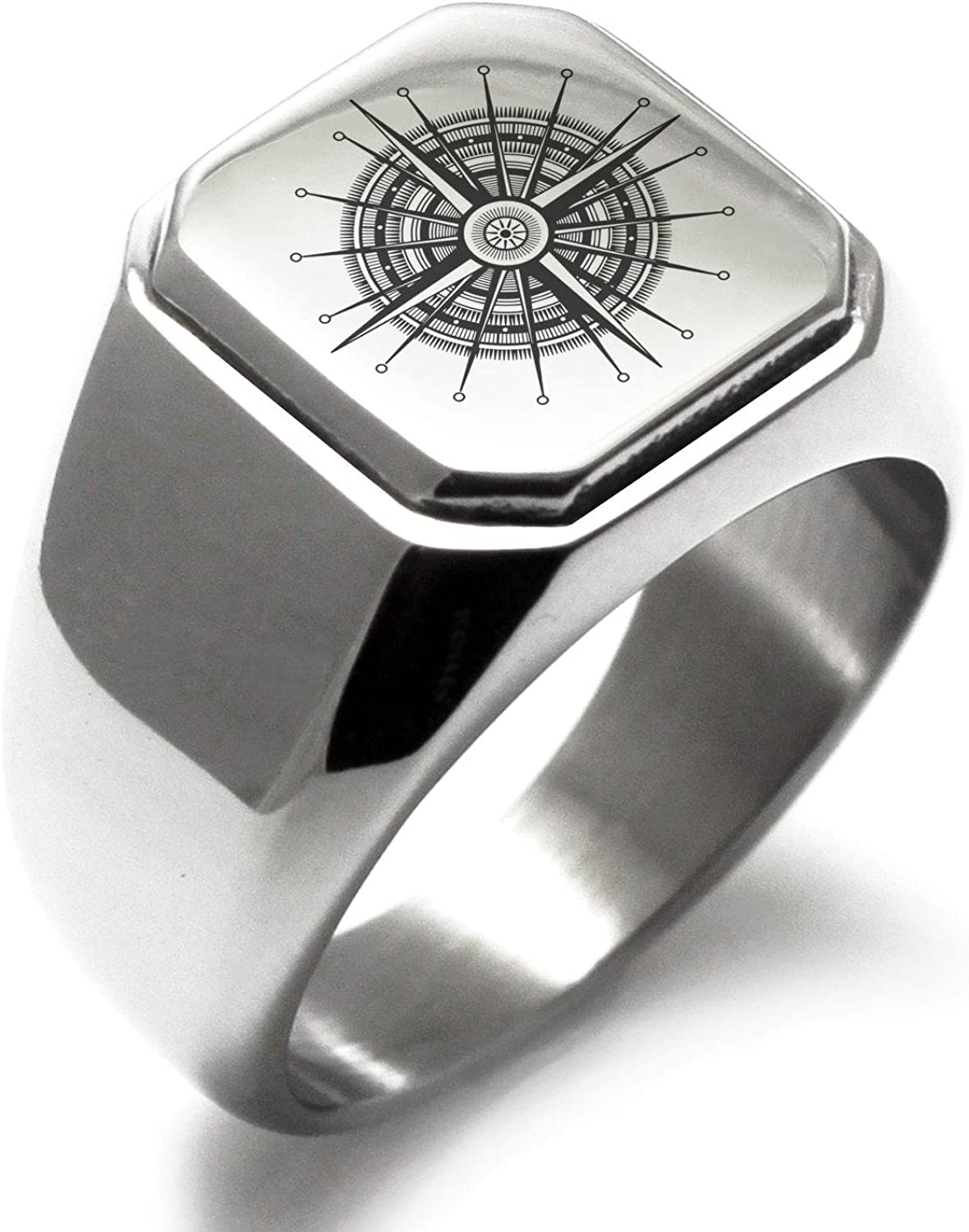 Stainless Steel Nautical Needle Dial Compass Square Flat Top Biker Style Polished Ring, Size 16