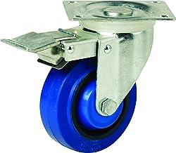 Easyroll 15820 Zwenkplaat Castor met rem, blauw, 75mm