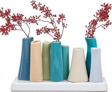 Chive- Pooley 2, Vase de Fleurs Pousse Céramique Rectangulaire, avec 8Tubes pour Petites Fleurs, Bleu Acier avec Assortimen