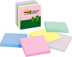 Post-it Greener Notes, America's #1 Favorite Sticky Note, 3 in x 3 in, Helsinki Collection, 6 Pads/Pack (5416-RP-AP)
