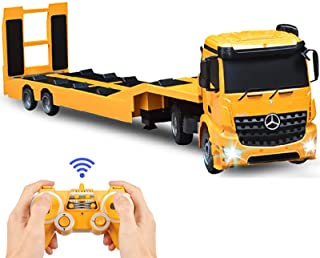 DOUBLE E RC Tow Truck Detachable Flatbed Semi Trailer Engineering Tractor Remote Control Trailer Truck Electronics Hobby Toy with Sound and Lights
