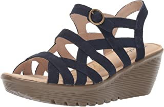 Skechers Women's Parallel-Three Strap Buckle Slingback Wedge Sandal