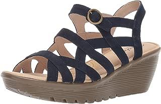 Women's Parallel-Three Strap Buckle Slingback Wedge Sandal