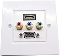 CERRXIAN HDMI VGA 3RCA AV Wall Plate Composite Video Audio Adapter Jack Outlet Assorted Panel Covers