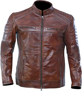 Artistry Leather Brown Leather Jacket Men for Bikers | Genuine Lambskin Waxed Cafe Racer Vintage Motorcycle