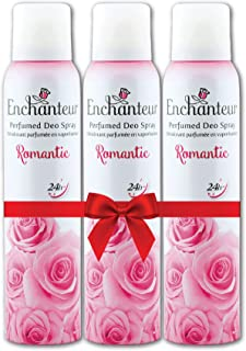 Enchanteur Romantic Perfumed Deo Spray for Women infused with real French Perfume, 150 ml (Pack of 3)