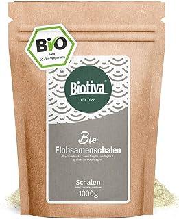 Cáscara de ispaghul orgánico 99% pureza 1000 g - calidad alimentaria comprobada - rica en fibra alimentaria - bolsa de cierre hermético - llenada y verificada en Alemania (DE-ÖKO-005)