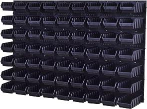 Wandrek Opslag Plank Gereedschapswand Stapelboxen Wandpaneel Workshop Magazijn + 63 kuvetten 117 x 210 x 75 mm (zwart)