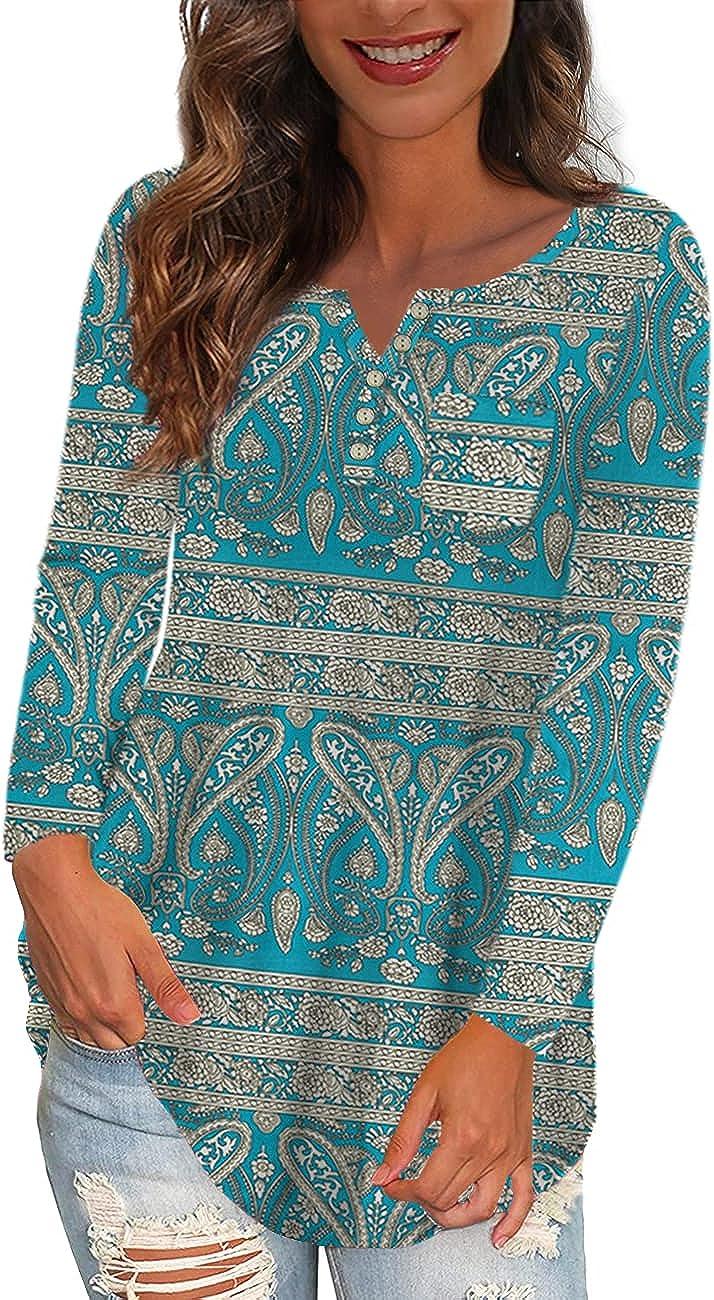 Ushdele Women's Plus Size OFFicial site Tops V Neck Casua Button Henley Floral 70% OFF Outlet