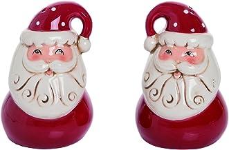 Transpac Vintage Nostalgic Santa Salt and Pepper Shaker Set - Santa Claus Christmas Set