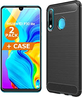 Screen Protector for Huawei P30 Lite [2 Pack] and Phone Case by BRCS | 9H Hardness, Impact and Scratch Resistant, Shatterp...