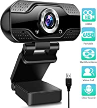 1080P Full HD Webcam, Streaming Web Camera with Microphones, Webcam for Gaming Conferencing & Working, Laptop or Desktop PC, USB Computer Camera for Mac Xbox YouTube Skype etc.