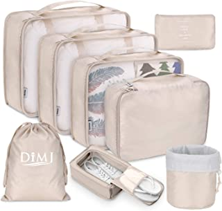 Packing Cubes for Travel, 8Pcs Travel Cubes Set Foldable Suitcase Organizer Lightweight Luggage Storage Bag (Beige)