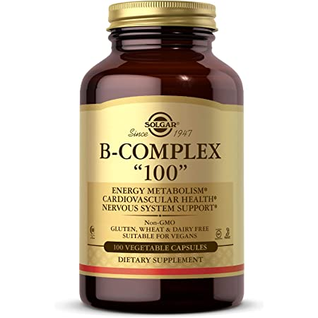 """Solgar B-Complex """"100"""", 100 Vegetable Capsules - Heart Health - Nervous System Support - Supports Energy Metabolism - Non GMO, Vegan, Gluten Free, Dairy Free, Kosher, Halal - 100 Servings"""