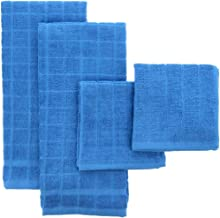 THE FIREFLY COLLECTION Bamboo Kitchen Towel and Dish Towel Set – 4 Pack Matching Blue Kitchen Towel Set – Ultra Absorbent, Stylish and Practical – Use for Kitchen Wiping, Cleaning and Drying