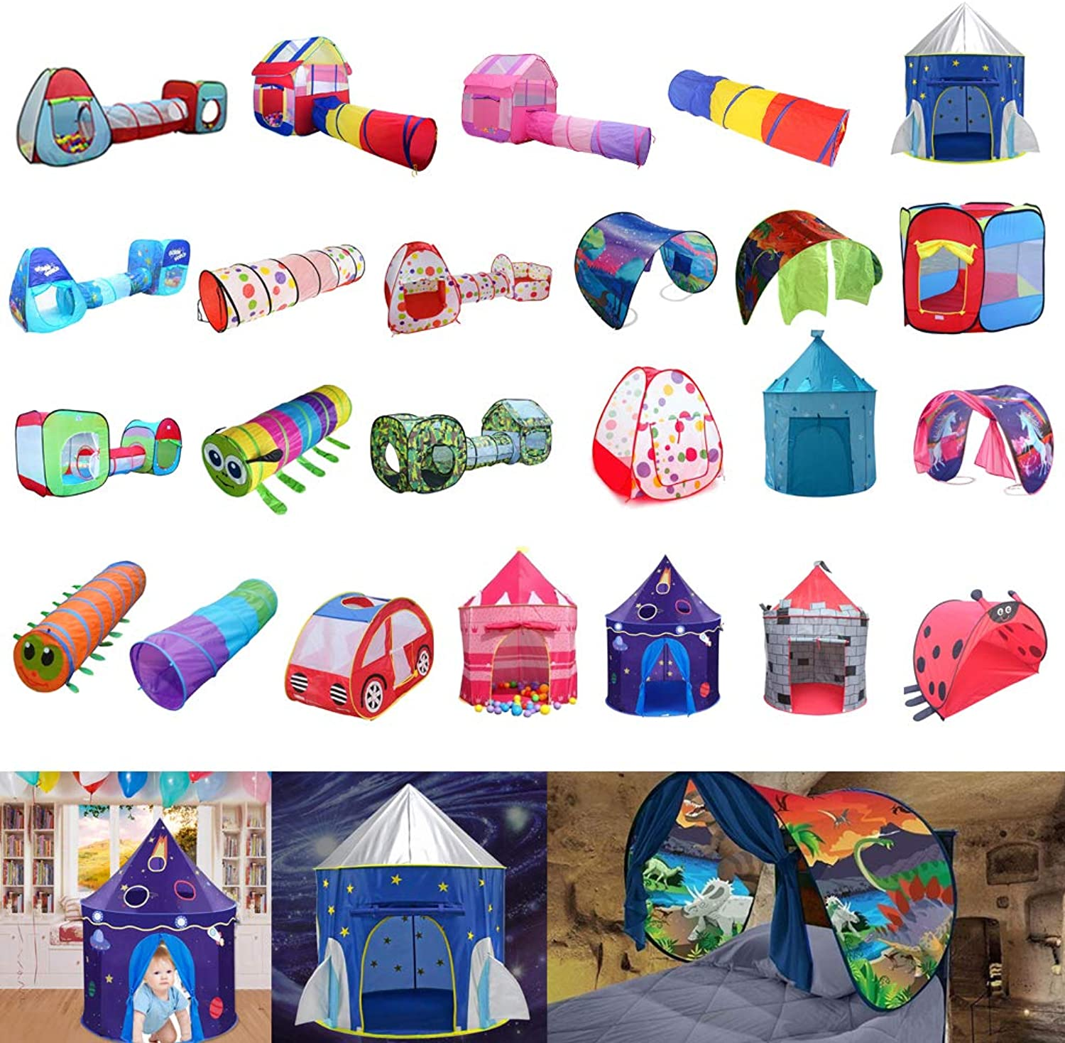 Baosity Rocket Ship Play Tent for Boys - Astronaut Space Playhouse - Kids Pop Up Tent Toy for Indoor Outdoor Fun Play
