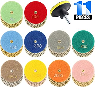 Glarks 3 Inch 10Pcs 50 to 3000 Grit Wet Diamond Polishing Pads with Hook and 3 Inch Loop Backing Holder Disc with 1/4 Inch Shank Set for Granite, Stone, Concrete, Marble, Travertine Polishing