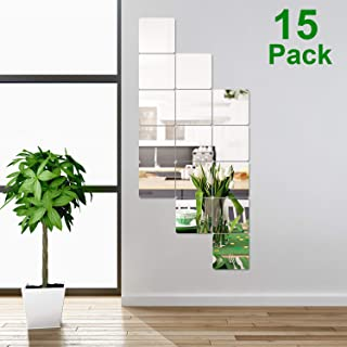 15 Pieces Removable Acrylic Mirror Setting Wall Sticker Decal for Home Living Room Bedroom Decor (Square with Rounded Corners, 15 Pieces)