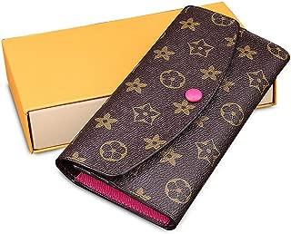 Olyphy Designer Wallet for Women Men, Long Tri-fold Credit Card Holder Retro Purse Crossboday Shoulder Bag