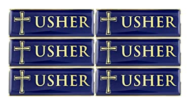 Gold Tone and Blue Enamel Metal Magnetic Badge for Church Volunteer or Elder, 3 Inch (Pack of 6, Usher)
