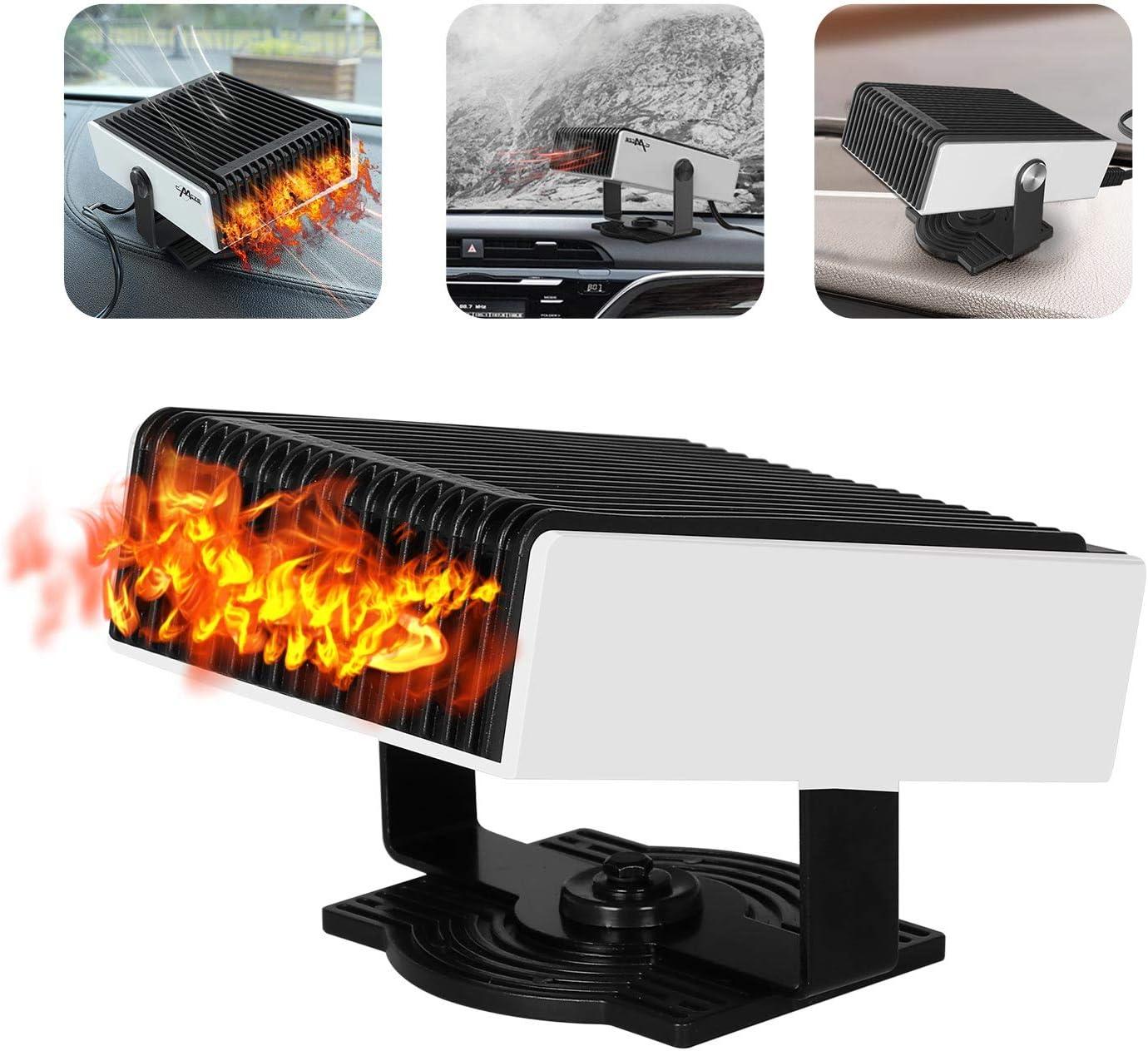 Calefactor para coche de 12 V, portátil, deshumidificador de ventanas y ventilador 2 en 1, descongela el parabrisas con calentamiento rápido, poco ruido