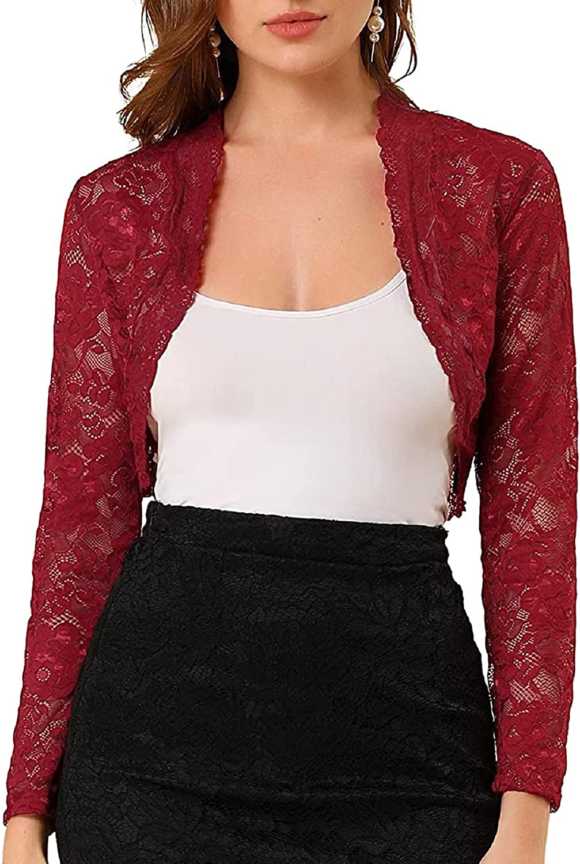 Women Crochet Cardigan Elegant Cropped Long Sleeve Sheer Floral Lace Bolero Shrug Tops for Women Dress