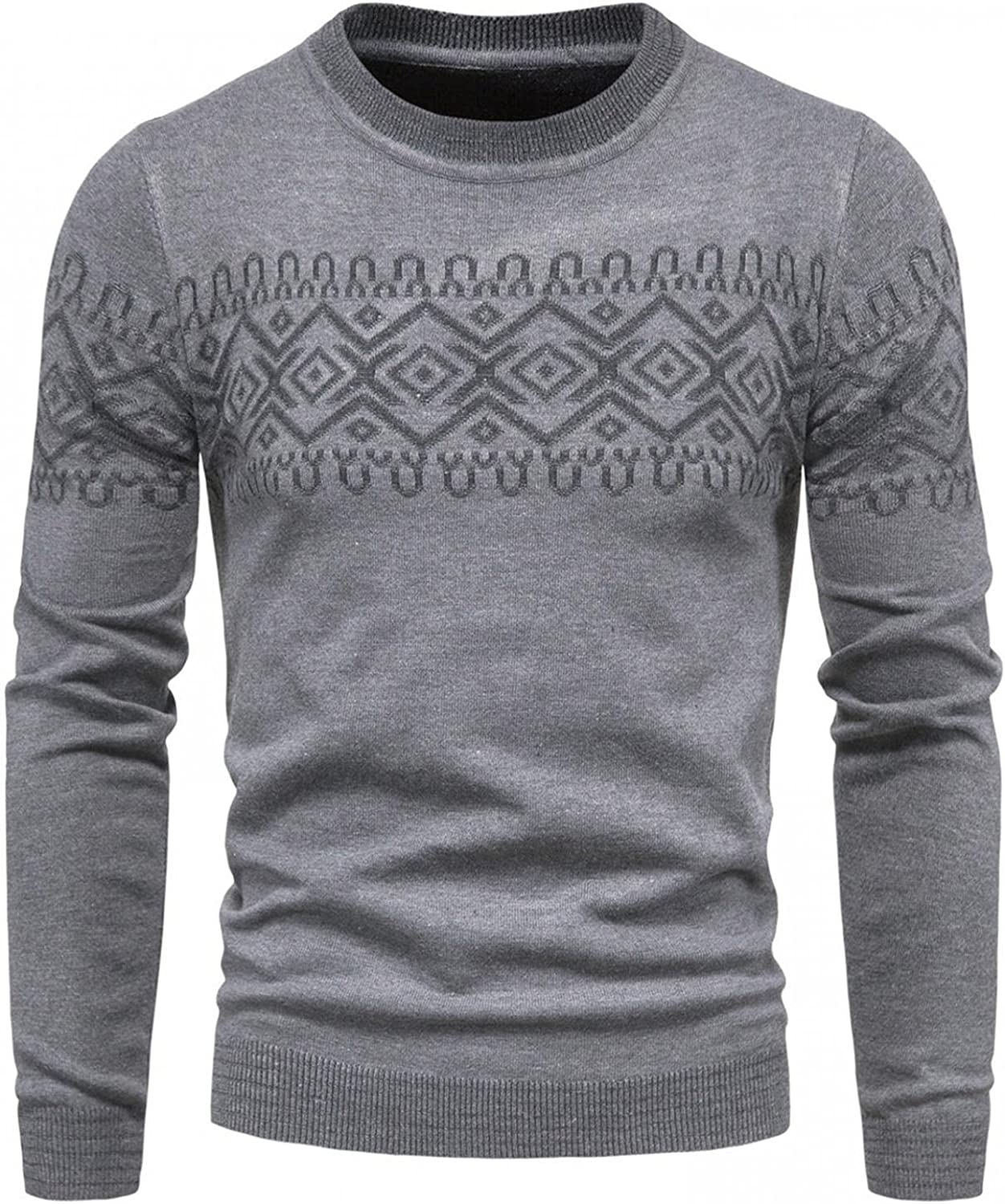 FUNEY Men's Muscle Fited Soft Cotton Cable Stitch Crewneck Sweater Color Block Long Sleeve Vintage Ugly Christmas Sweaters