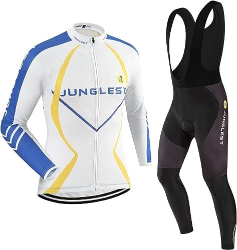 JNL Maillot de Cyclisme Homme Manches Longues Jersey(S5XL,Option Cuissard,3D Coussin) N64