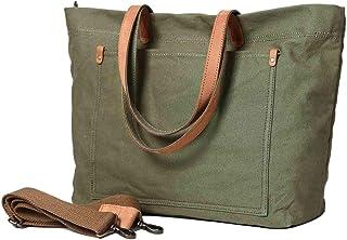 Neuleben Shopper Tasche Damen Frauen Handtasche Schultertasche Umhängetasche Canvas Vintage Elegant Groß für Arbeit Einkaufen Schule Freizeit Grün