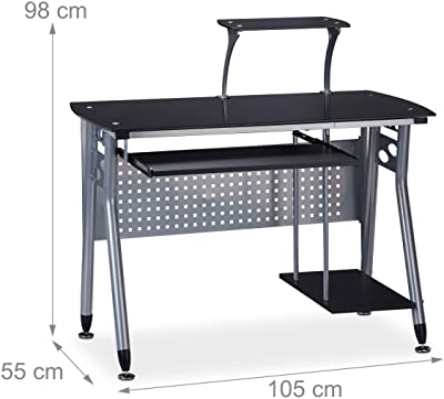 relaxdays Table Verre, Coulissant pour Clavier et Place pour Ordinateur HlP: 98x105 x55 cm Couleurs, Panneau de Particules, métal, Noir, 98 x 105 x 55 cm