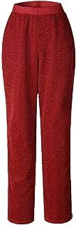 YiyiLai Women Glitters Stripes Elastic Wide Leg Trousers Leisure Pants