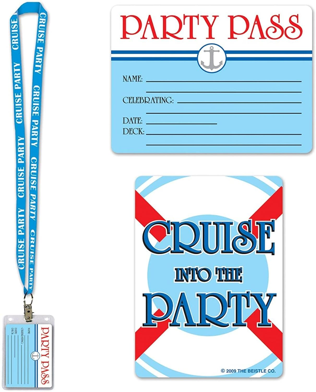 Pack of 12 Light bluee Cruise Ship Party Pass Lanyard and Card Holder 25