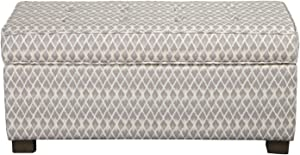 HomePop Upholstered Large Rectangle Storage Bench, Gray Diamond