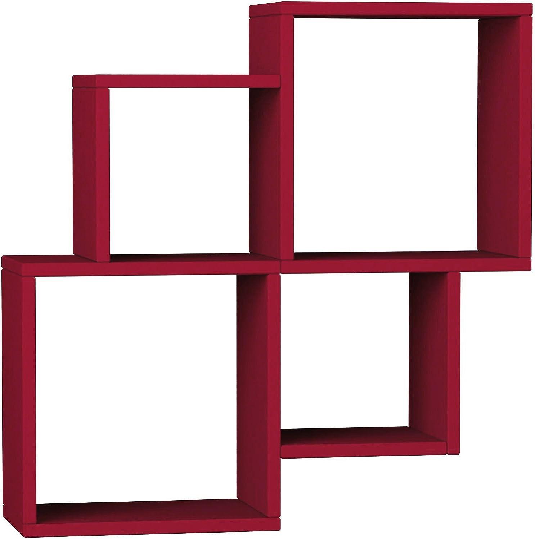Ada Home Décor DCRW2086 Watkins Wall Shelf, 39'' x 28'' x 9'', Burgundy