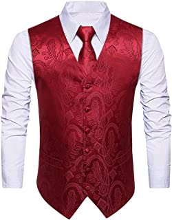 Enmain Men's Paisley Floral Jacquard Waistcoat & Necktie and Pocket Square Vest Suit Set Wedding Party