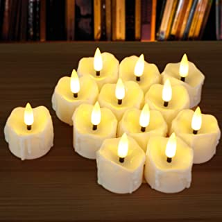 12pcs Flameless Tea Lights, PChero Unscented LED Timed Tealight Battery Operated Realistic Votive Candles for Seasonal Fes...