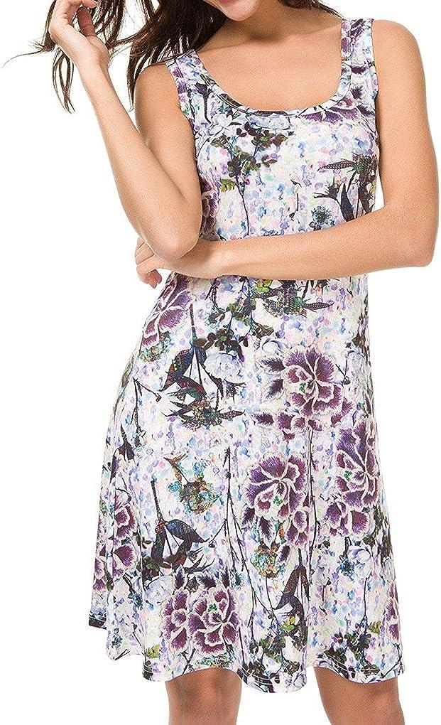 CHBORCHICEN Women's Summer Casual Floral Printed Vest Dresses Sexy Scoop Sundress Sleeveless Mini Beach Dresses