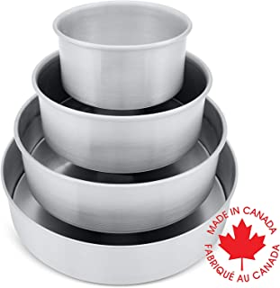 Crown 4-piece Round Cake Pan Set, 6, 8, 10, 12 inch, 2 inch deep, Professional Quality Cake Pans, Heavy Gauge, Extra Sturdy, Food Grade Aluminum, 6 inch Cake Pan included
