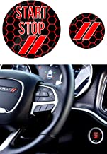 JDL Autoworks compatible with 2015-2019 Dodge Charger/Challenger Starter Button Decal Overlay | 3D Domed SRT Style Red Start Stop Sticker Emblem | Push to Start Button Badge Cover Accessories
