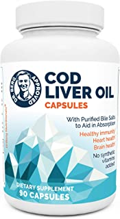 Dr. Berg's Cod Liver Oil - Source of Omega 3 Fatty Acids Vitamins A & D Promoting DHA & EPA - Support Heart, Brain, Eye, S...