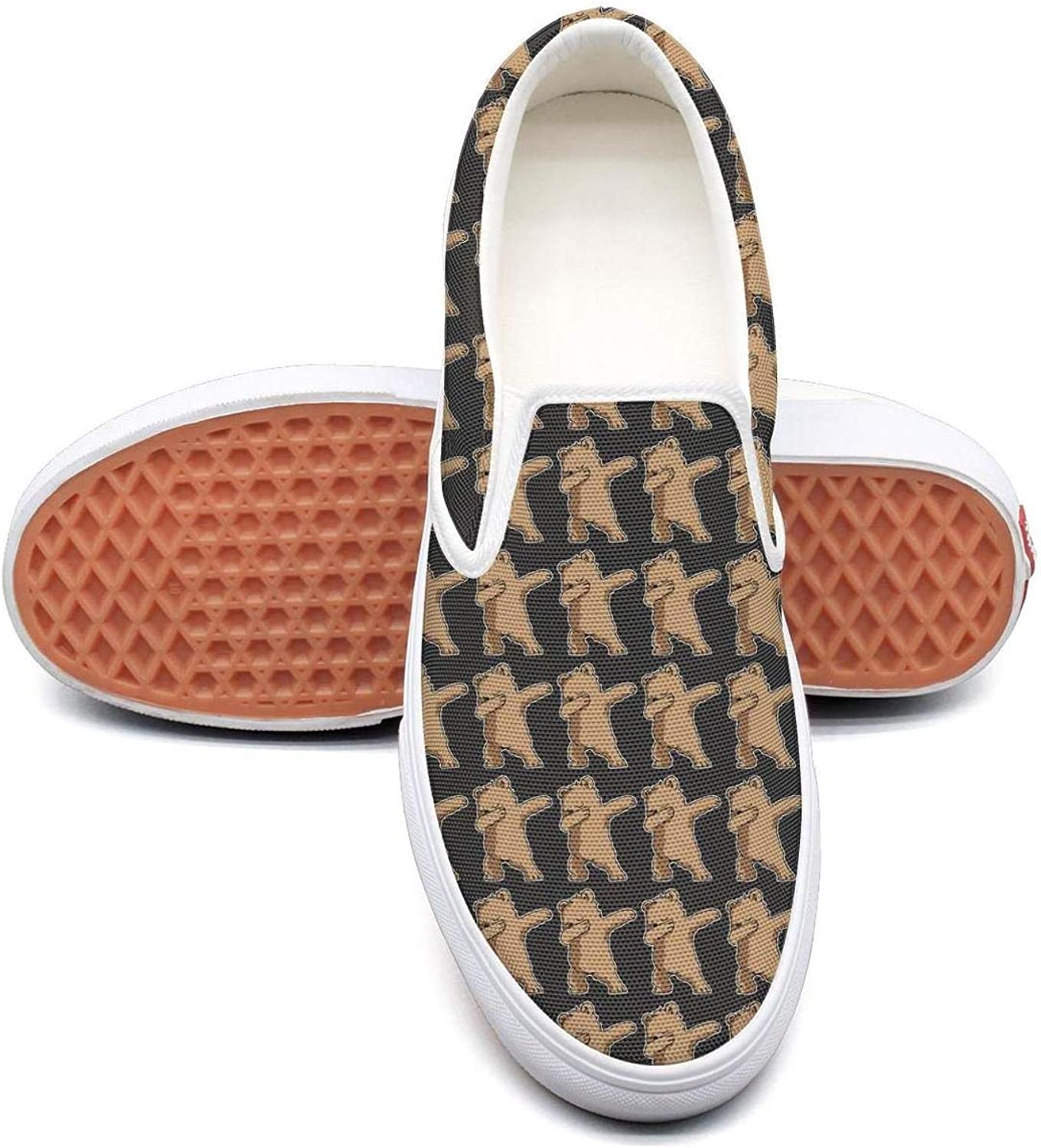 Refyds-es Dabbing Bear Funny Womens Fashion Slip on Low Top Lightweight Canvas Cloth shoes