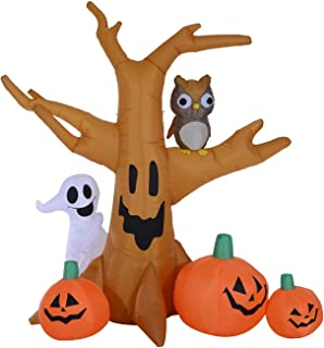 HOMCOM 7.5' Tall Outdoor Lighted Airblown Inflatable Halloween Decoration - Haunted Tree with Owl/Ghost/Pumpkins