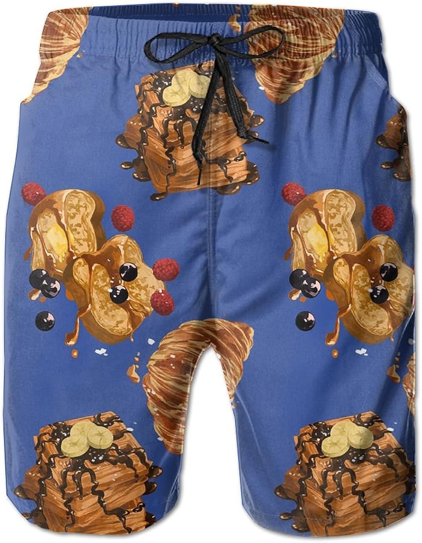 Beach Pants Sweet Breakfast Croissant Pattern Men's Workout Gym Short Shorts Pockets Sweatpants Waist Tension Design