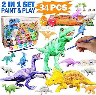 HOWADE Dinosaur Painting Kit,34pcs Crafts and Arts Painting Kit, Party Favors Dinosaurs Toys Art and Craft Animal Figurine...