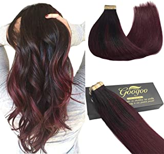 Googoo 22inch Hair Extensions Tape in Human Hair Balayage Black to Red Ombre Skin Weft Tape in Remy Hair Extensions Straight 20pcs 50g